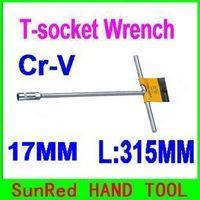 SunRed BESTIR 17MM T bar hex socket wrenches L:315mm 12/60pcs chrome-vanadium steel wheel stud remove tool NO.57117 freeshipping