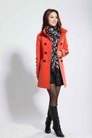 New Women's Fashion winter Wool Cashmere Winter Noble Long Trench Slim Coat SIZE M-XXL orange