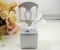 50pcs Golden Silver Chair Wedding Favors Candy Box ,Card Holder Without Letter