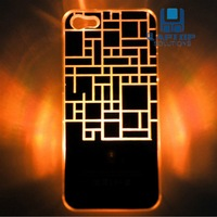 Free Shipping Colorful Change logo Battery Sense Flash LED light Cover Case for iPhone 5 New iphone 5S 5G Styles