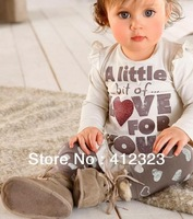 free shipping baby girls autumn clothes set suit toddler long sleeve shirt +heart printed pants children's suits