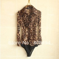 New 2014 womens Fashion sexy leopard print chiffon long sleeve body blouse shirts S M L XL