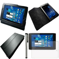 "3in1 For 7"" Acer Iconia Tab A100 Tablet Black Stand PU Leather Folio Case Cover+Screen Protector Film +Stylus Touch Pen #AC336"