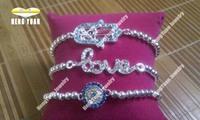 Free Shipping Silver Plated Crytal Love Bracelet Hamsa Hand, Evil Eye Bracelet BS012