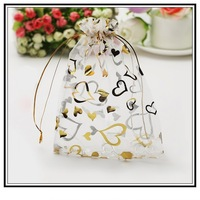 Free Shipping 100pcs 7x9cm White Christmas Jewelry Bags Organza Wedding Gift Bags&Pouches