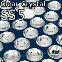 SS5 1.7-1.8mm,1440pcs/bag Non HotFix FlatBack white clear Rhinestones,Clear glitters DMC Glue-on loose nail crystals stone