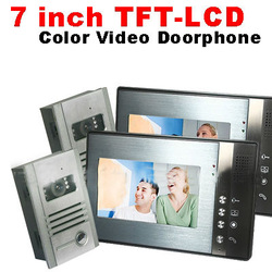 Home Wired Video Door phone Doorbell Intercom System Two 7inch TFT LCD Monitors 6 LEDS IR Camera(China (Mainland))