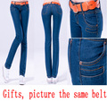 Free shipping Slim elastic skinny pants pencil pants tight jeans female Appear thin cotton woman Presented pictures style belt