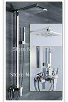 "Single Handle 10"" Square shower head rainfall chrome finish With Slide Bar bathroom shower faucet AD1019"