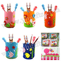 15PCS/LOT.DIY felt pen holder craft kits,Fabric pencil bag,Novelty stationey,Activity items,5 design,12x10.5cm,Freeshipping
