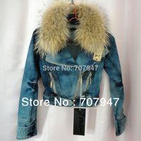 Free shipping 2014 Fashion denim top real Natural raccoon fur collar denim jacket Slim short jeans jacket plus size