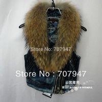 Free shipping 2015 Fashion women jean vest nature fur collar plus cotton denim vest women plus size waistcoat fur vest female