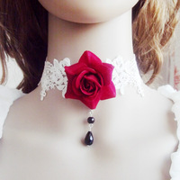 gothic jewelry vintage rose necklace red flower white lace water drop pendant beads lolita necklaces fashion chokers necklaces
