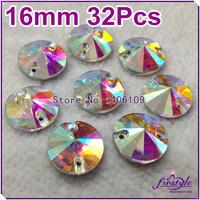 30pcs/bag,16mm Round Rivoli Crystal Sew On Rhinestones Flatback 2 holes Crystal AB Silver Base Chaton Beads