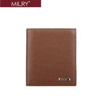 Top grade MILRY  Men 100%  Genuine  Leather Wallet  Purse Money clip embossing bags wholesale&retail Brown Free Shipping C0123