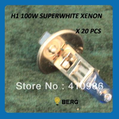 20 PCS X H1 4300k Xenon Car Headlight Bulb halogen bulb Blue bulb 100W 12V(China (Mainland))