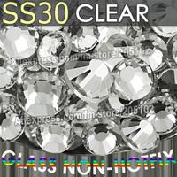 SS30 6.4-6.6mm,288pcs/bag Non HotFix FlatBack white clear Rhinestones,Clear glitters DMC Glue-on loose nail crystal stones