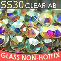 SS30 6.4-6.6mm, Clear Crystal AB 288pcs/bag Non HotFix FlatBack Rhinestones,glass DMC glue-on loose DIY nail crystals stones