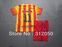 Youth kids children boy girl baby's soccer uniform neymar JR spainish la liga club away red yellow jersey and short football kit