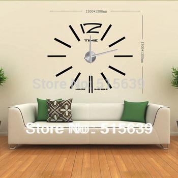 DIY Wall Clock Modern Design  Home Decoration Decor Living Room Big Metal Hours Watch Stickers Creative Design12S003