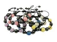 19 USD Free Shipping Resin Shamballa Bracelet, nylon cord with 5 pcs resin rhinestone beads & hematite, mixed colors, 12x12mm
