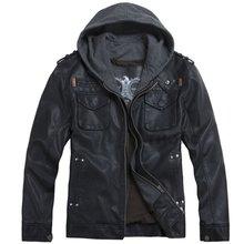 2012 THOOO new  wholesale Short Hooded PU leather jacket Blacks MEN'S JACKET coat Racing M L XL 2XL 3XL 4XL 5XL(China (Mainland))
