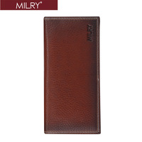 Brand MILRY 100% Guaranteed handmade Genuine Leather men Wallet  Purse Money clip free custom logo C0155