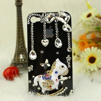 Free shipping/New Fashion Bling Crystal Rhinestone Hard Cover Case for iphone4/4S merry-go-round  lovely hot Sell Christmasgift
