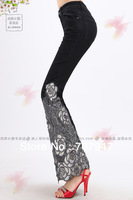 Free shipping 2014 vintage denim fashion beading embroidered jeans bell-bottom skinny jeans flare black paragraph printing jeans
