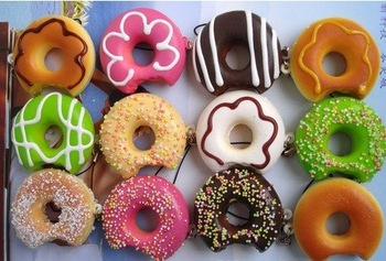 2015 Wholesale Free Shipping Mobile Phone Strap Donut Squishy Charm Cute Bread Pendant Fashion Promotion Gift