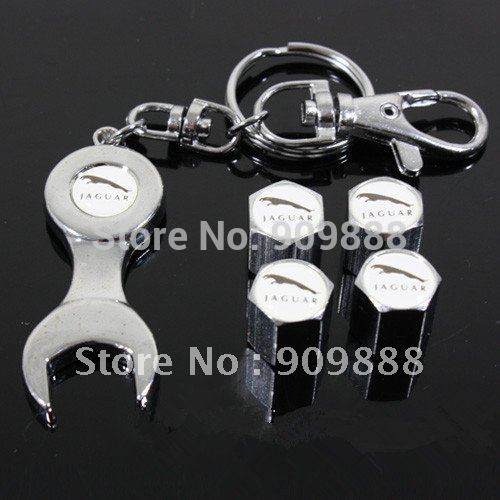 Free Shipping 4 PCS Chrome Metal Tire Air VALVE STEM Caps Emblem For Jaguar Wrench Keychain(China (Mainland))