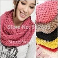{Min.Order $15} 2013  Lady Fashion Knitting Popcorn Pattern Ring Scarf  Many Colors