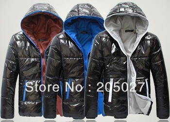 freeshipping 2012-2014 plus size men winter coat  men's  hoody color block wadded jacket men winter jacket  for men coat