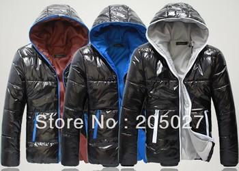 freeshipping 2012-2014 plus size men winter coat  men's  hoody color block wadded jacket men winter jacket  for men coat