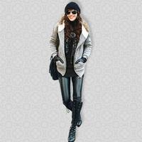 Free Shipping Retail Sexy Seamless Leggings Print Winter Black Fashion Jeans Double Layers Leggings Winter Leggings