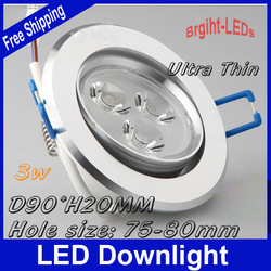 10pcs/lot Free Shipping 3W 270lm AC85-265V LED Downlight lighting led recessed light Angle Adjustable(China (Mainland))
