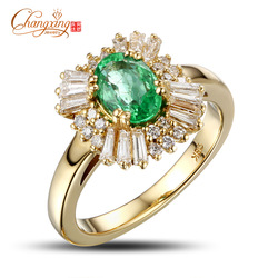SOLID 18k Yellow GOLD NATURAL 1.22ct EMERALD 0.80ct Round & Baguette Cut DIAMOND ENGAGEMENT RING Free Shipping Wholesale Jewelry(China (Mainland))