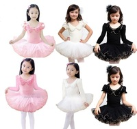 Retail Free Shipping Pink Black White Girls' Cotton Short Sleeve Dance Dress Leotard Ballet Tutu Skate Party Show Skirt SZ3-8Y