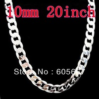 Figaro Chains 925 Silver Necklace 10mm 20inch 22inch 24inch Mix Size For Men's Curb Necklaces ! Fashion Jewelry ! Free Shipping