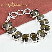 Luckyshine 2014 Hot Sale Wholesale New Fashion Women Men Jewelry Summer Smoky Quartz Chain Crystal Charm Bracelets & Bangles!