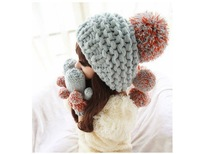 1 Piece Retail Hot Selling Women Hats Winter Knitted Lady's Headwear Classical Gray Woman's Caps Fur Ball Lady's Accessory