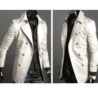2013 Men's Stylish Double Breasted Jacket Long Trench Coat  Windbreak free shipping 22