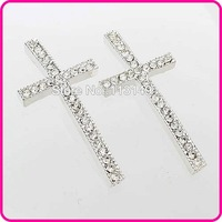 Free Shipping! Cross Sideways Pave Crystal Silver Tone Connector Charms Beads For Jewelry Bracelets Making 8Colors MC-N07