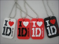 "I love 1D dog tag necklace, One Direction Dog Tag with 24"" ball chain, Silicon dog tag, 4colours, 50pcs/lot, free shipping"