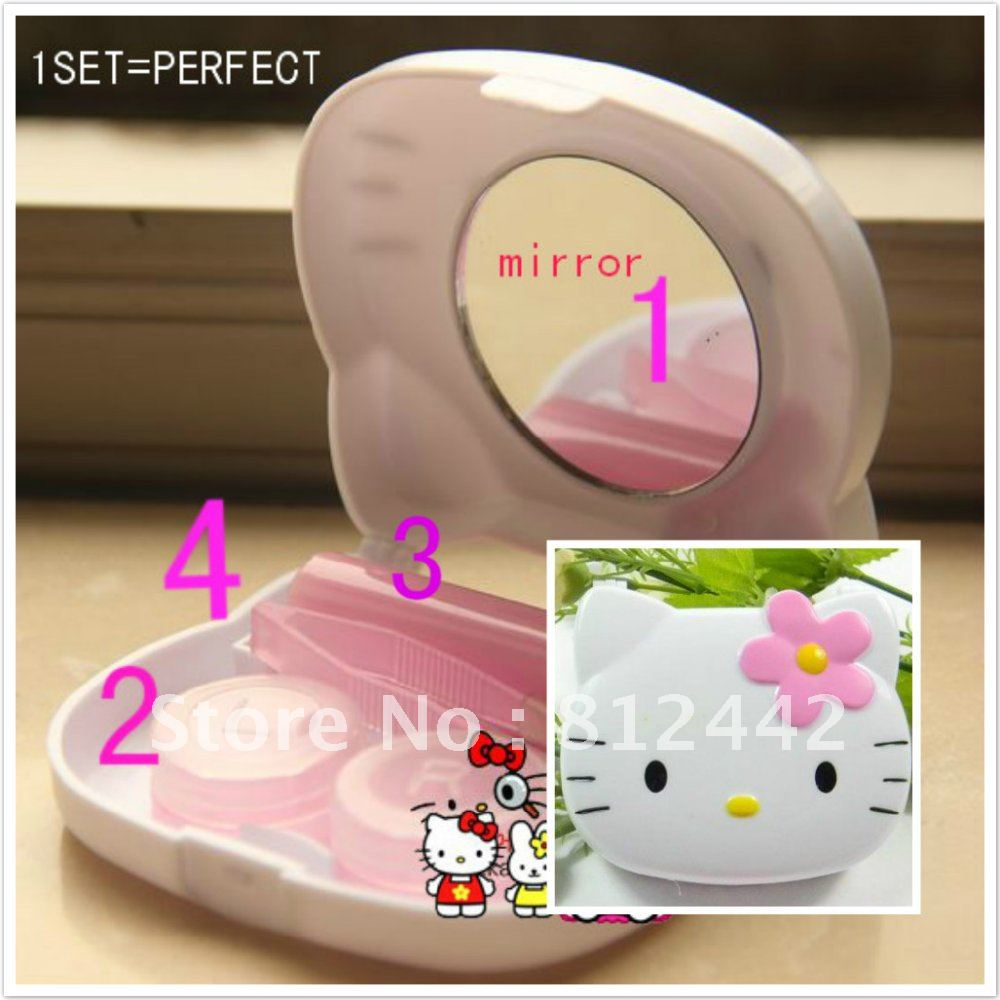 1SET HOT RUS/US ABS white Hello Kitty Contact Lenses box HELLO KITTY Contact Lens Box FREE SHIPPING(China (Mainland))