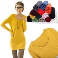 free shipping Women's basic sweater 100%cotton medium-long o-neck  basic pullover
