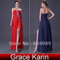 Free Shipping 1pcs/lot Strapless Women Formal Slit Wedding Party Gown Prom Ball Evening Dinner Dresses, Chiffon CL3443