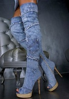 Free shipping 2013 fashion denim lace jean boots women patchwork over the knee summer boots open toe platform shoes