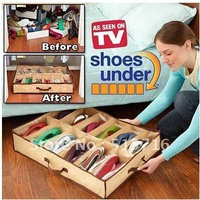 As Seen On TV Non-woven Large clothing & shoe storage box ,12 shoes storaged Closet Organizer  ,Free Shipping