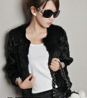 Free shipping  spring  Hot Sale Korea Fashion Faux Fur Rabbit Hair Lady Warm Short Coat Jacket Fluffy Outwear